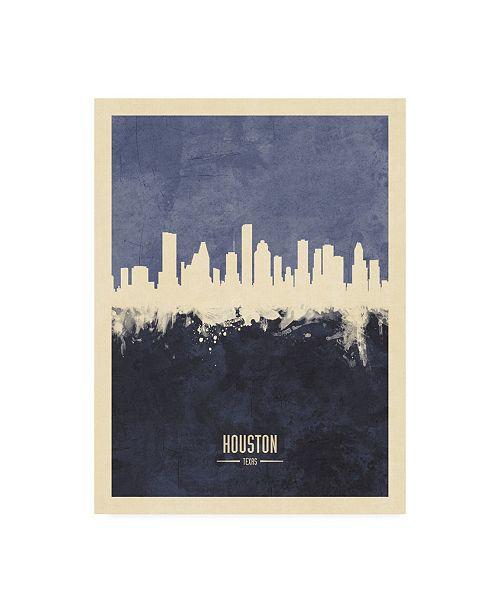 "Trademark Global Michael Tompsett Houston Texas Skyline Navy Canvas Art - 36.5"" x 48"""