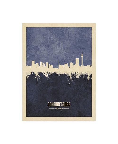 "Trademark Global Michael Tompsett Johannesburg South Africa Skyline Navy Canvas Art - 19.5"" x 26"""