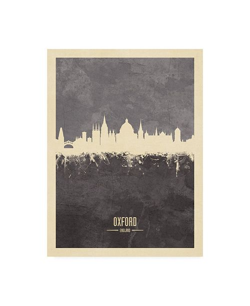 "Trademark Global Michael Tompsett Oxford England Skyline Gray Canvas Art - 19.5"" x 26"""