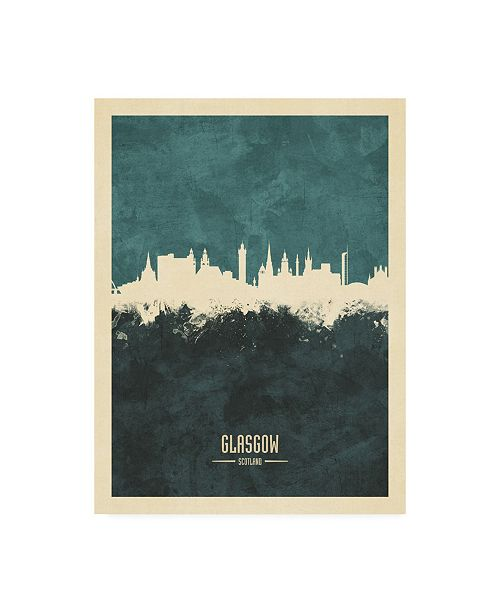 "Trademark Global Michael Tompsett Glasgow Scotland Skyline Teal Canvas Art - 19.5"" x 26"""