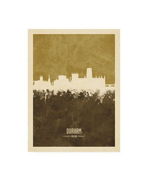 "Trademark Global Michael Tompsett Durham England Skyline Brown Canvas Art - 36.5"" x 48"""