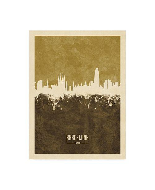 "Trademark Global Michael Tompsett Barcelona Spain Skyline Brown Canvas Art - 19.5"" x 26"""