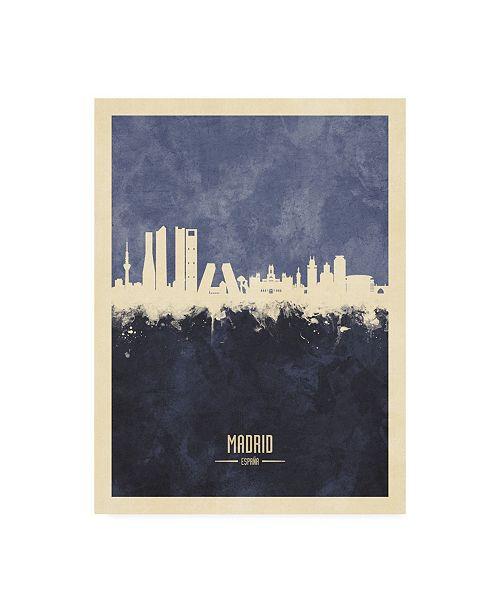 "Trademark Global Michael Tompsett Madrid Spain Skyline Navy Canvas Art - 36.5"" x 48"""