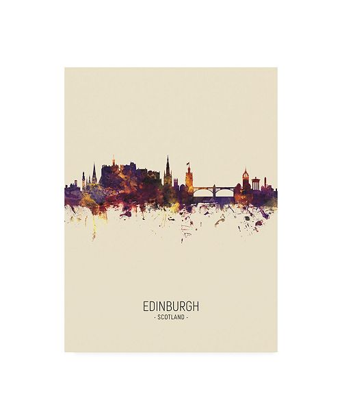 "Trademark Global Michael Tompsett Edinburgh Scotland Skyline Portrait III Canvas Art - 36.5"" x 48"""