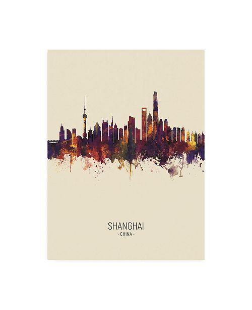 "Trademark Global Michael Tompsett Shanghai China Skyline Portrait III Canvas Art - 15.5"" x 21"""