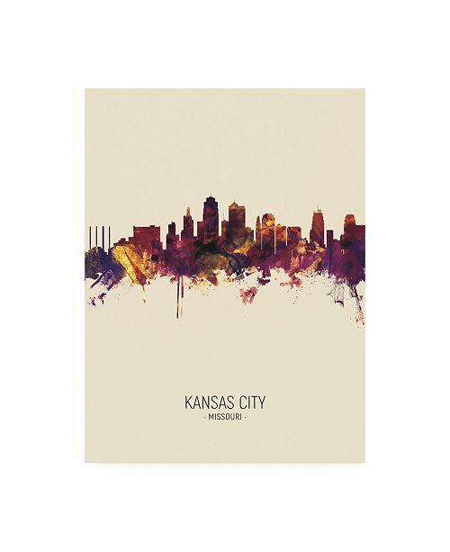 """Trademark Global Michael Tompsett Kansas City Missouri Skyline Portrait III Canvas Art - 27"""" x 33.5"""""""