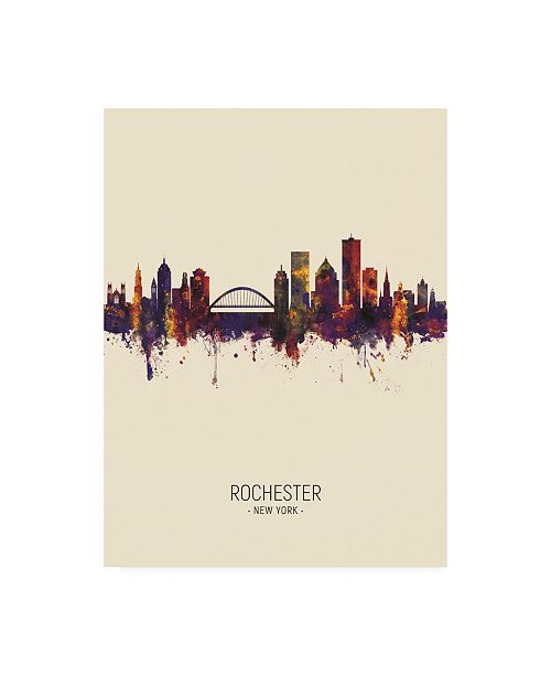 "Trademark Global Michael Tompsett Rochester New York Skyline Portrait III Canvas Art - 27"" x 33.5"""