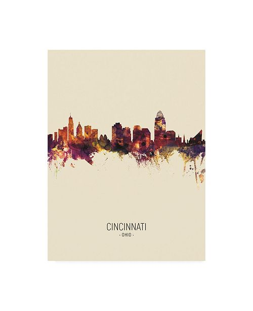 "Trademark Global Michael Tompsett Cincinnati Ohio Skyline Portrait III Canvas Art - 15.5"" x 21"""