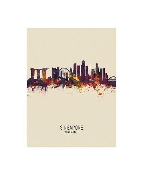 "Trademark Global Michael Tompsett Singapore Skyline Portrait III Canvas Art - 15.5"" x 21"""
