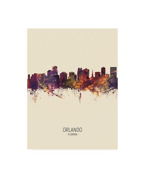 "Trademark Global Michael Tompsett Orlando Florida Skyline Portrait III Canvas Art - 15.5"" x 21"""