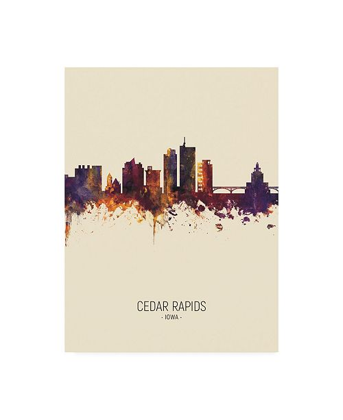 "Trademark Global Michael Tompsett Cedar Rapids Iowa Skyline Portrait III Canvas Art - 15.5"" x 21"""