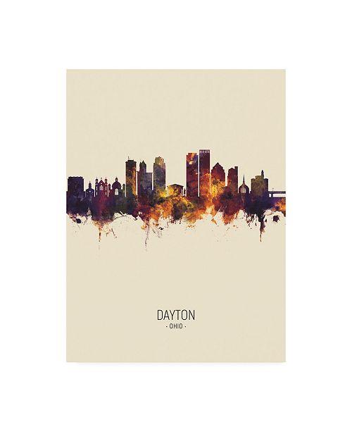 """Trademark Global Michael Tompsett Dayton Ohio Skyline Portrait III Canvas Art - 15.5"""" x 21"""""""