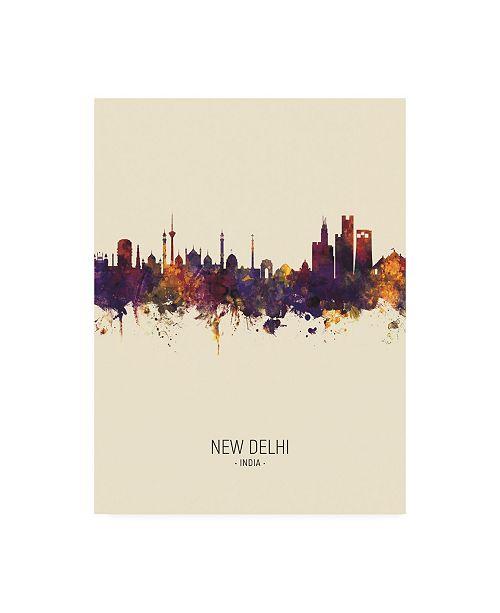 "Trademark Global Michael Tompsett New Delhi India Skyline Portrait III Canvas Art - 27"" x 33.5"""