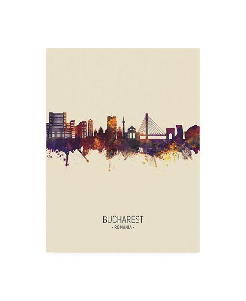 "Trademark Global Michael Tompsett Bucharest Romania Skyline Portrait III Canvas Art - 36.5"" x 48"""