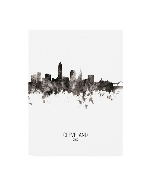 "Trademark Global Michael Tompsett Cleveland Ohio Skyline Portrait II Canvas Art - 27"" x 33.5"""