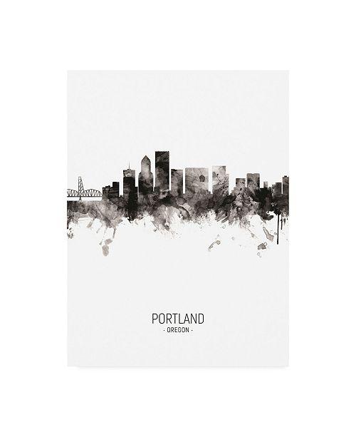 "Trademark Global Michael Tompsett Portland Oregon Skyline Portrait II Canvas Art - 15.5"" x 21"""