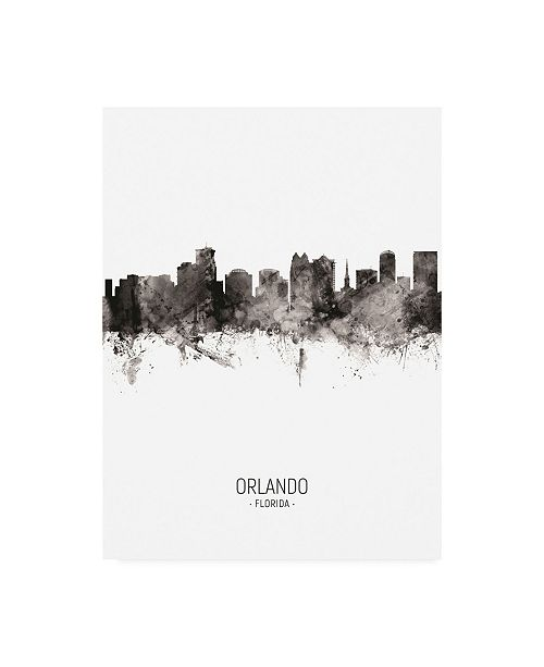 "Trademark Global Michael Tompsett Orlando Florida Skyline Portrait II Canvas Art - 15.5"" x 21"""