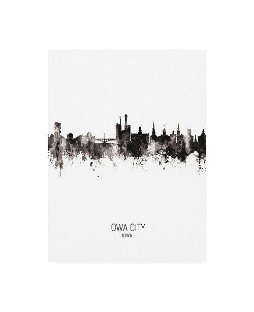 "Trademark Global Michael Tompsett Iowa City Iowa Skyline Portrait II Canvas Art - 15.5"" x 21"""