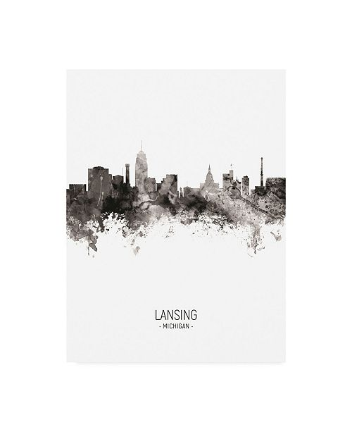 "Trademark Global Michael Tompsett Lansing Michigan Skyline Portrait II Canvas Art - 36.5"" x 48"""