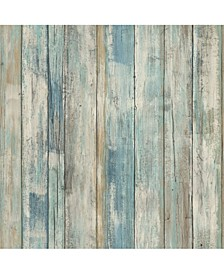 Blue Distressed Wood Peel And Stick Wallpaper