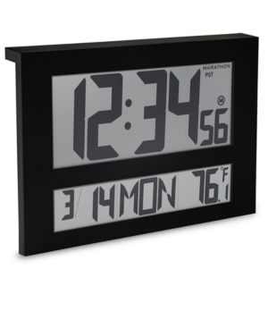Marathon Jumbo Atomic Wall Clock with 6 Time Zones, Indoor Temperature Date