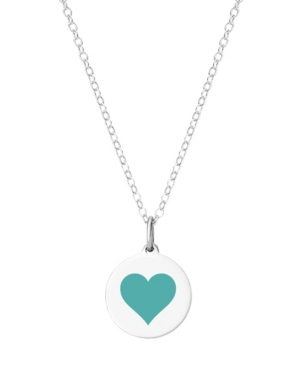 Mini Reverse Heart Pendant Necklace in Sterling Silver and Enamel