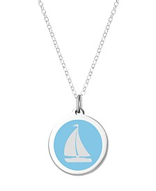 "Auburn Jewelry Sailboat Pendant Necklace in Sterling Silver and Enamel, 16"" + 2"" Extender"