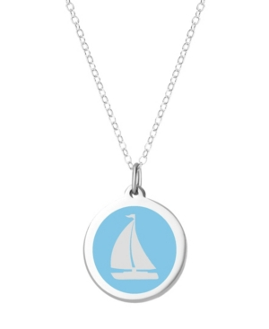 Sailboat Pendant Necklace in Sterling Silver and Enamel