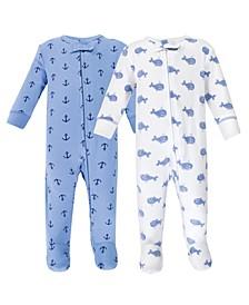 Zipper Sleep N Play, Blue Whales, 2 Pack, Preemie