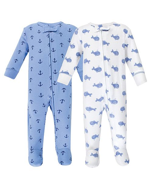 Hudson Baby Zipper Sleep N Play, Blue Whales, 2 Pack, Preemie