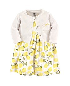Hudson Baby Dress and Cardigan Set, Lemons, 3 Toddler