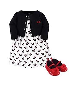 Hudson Baby Dress, Cardigan, Shoe Set, 3 Piece, Scottie Dog, 3-6 Months