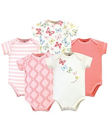 Touched by Nature Organic Cotton Bodysuit, 5 Pack, Butterflies, 9-12 Months