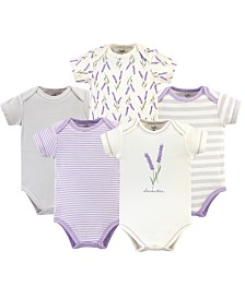 Touched by Nature Organic Cotton Bodysuit, 5 Pack, Lavender, 6-9 Months