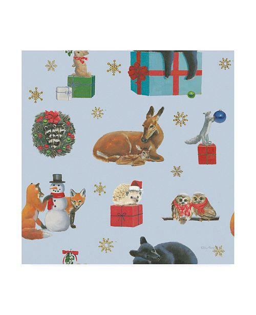 "Trademark Global Emily Adams Christmas Critters Bright Pattern IIIA Canvas Art - 19.5"" x 26"""