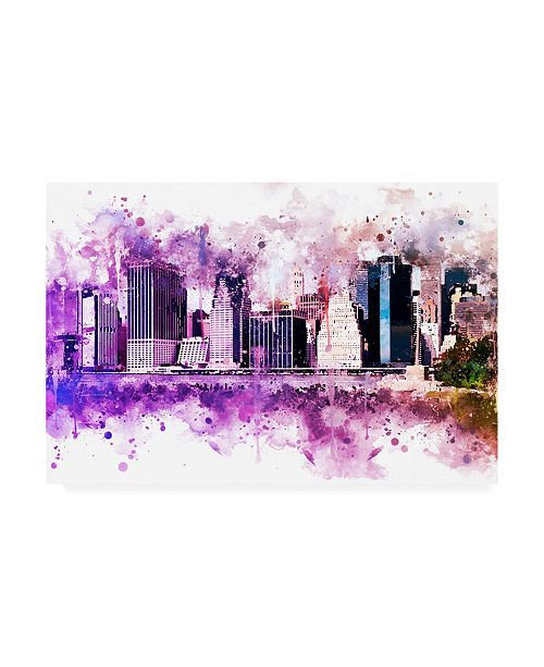 "Trademark Global Philippe Hugonnard NYC Watercolor Collection - Purple Skyline Canvas Art - 15.5"" x 21"""