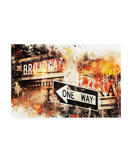 """Trademark Global Philippe Hugonnard NYC Watercolor Collection - Broadway One Way Canvas Art - 15.5"""" x 21"""""""