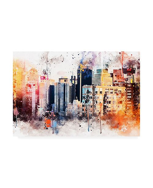"Trademark Global Philippe Hugonnard NYC Watercolor Collection - the Skyscrapers Canvas Art - 15.5"" x 21"""