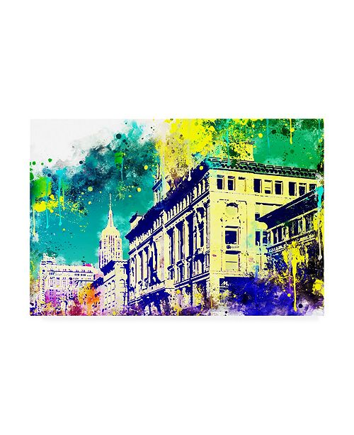 """Trademark Global Philippe Hugonnard NYC Watercolor Collection - Green Sky Canvas Art - 19.5"""" x 26"""""""