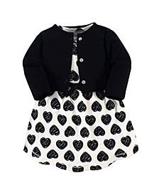 Organic Cotton Dress and Cardigan Set, Heart, 5 Toddler