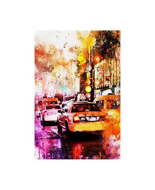 """Trademark Global Philippe Hugonnard NYC Watercolor Collection - Taxis Night Canvas Art - 19.5"""" x 26"""""""