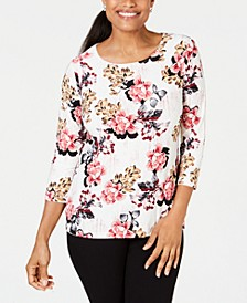 3/4-Sleeve Printed Jacquard Top, Created for Macy's
