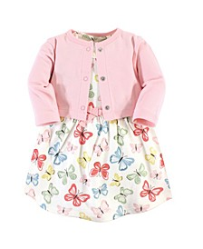 Organic Cotton Dress and Cardigan Set, Butterflies, 4 Toddler