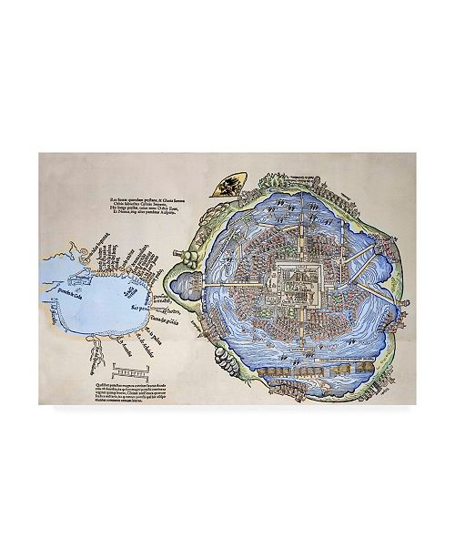 "Trademark Global Spanish School Representation of the Aztec capital Tenochtitlan Canvas Art - 36.5"" x 48"""