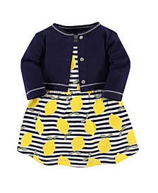 Organic Cotton Dress and Cardigan Set, Lemons, 5 Toddler