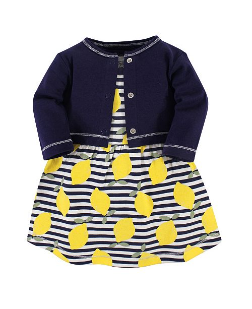Touched by Nature Organic Cotton Dress and Cardigan Set, Lemons, 5 Toddler