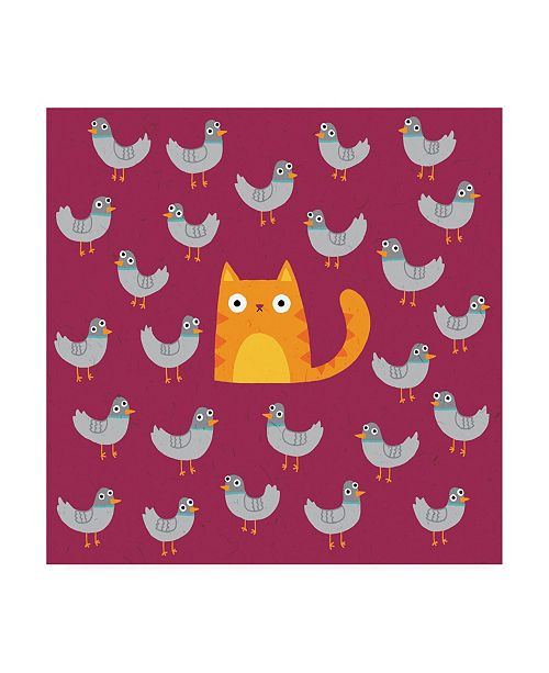 "Trademark Global Michael Buxto Cat amongst the Pigeons Canvas Art - 15.5"" x 21"""