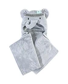 Hooded Plush Blanket, Tribal Elephant