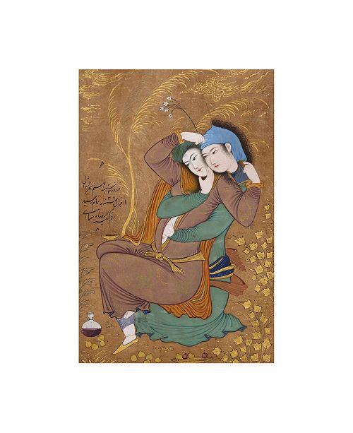 "Trademark Global Riza-yi Abbas The Lovers Together Canvas Art - 36.5"" x 48"""