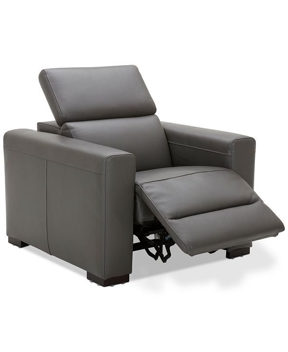 "Furniture Nevio 39"" Leather Power Recliner with Rachet Headrest"
